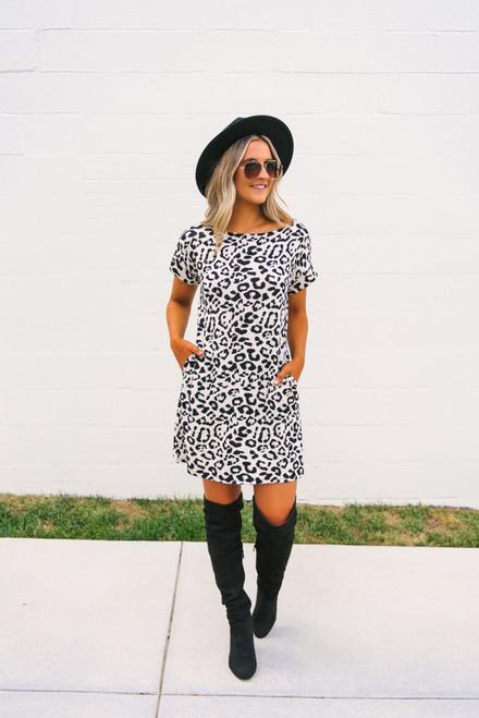 Miss Independent Leopard T-Shirt Dress - Beige/Black