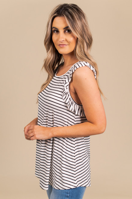 Ruffle Sleeve Striped Racerback Tank - White/Black
