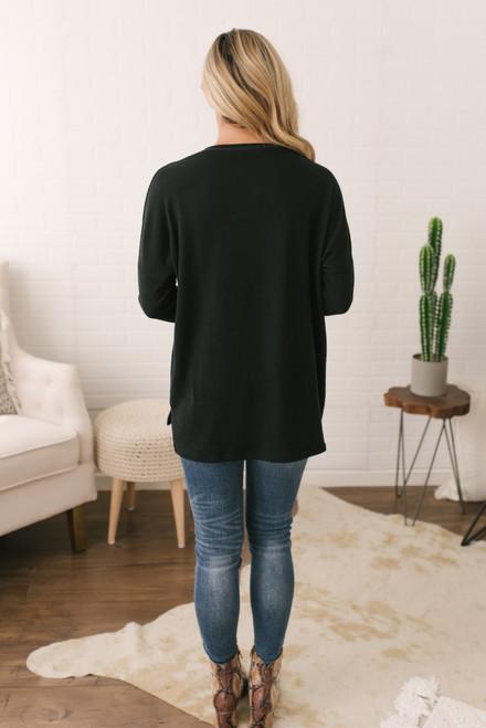 V-Neck Contrast Stitch Sweater - Black