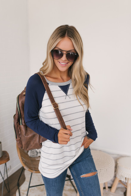 Contrast Striped Raglan Tee - Ivory/Grey/Navy