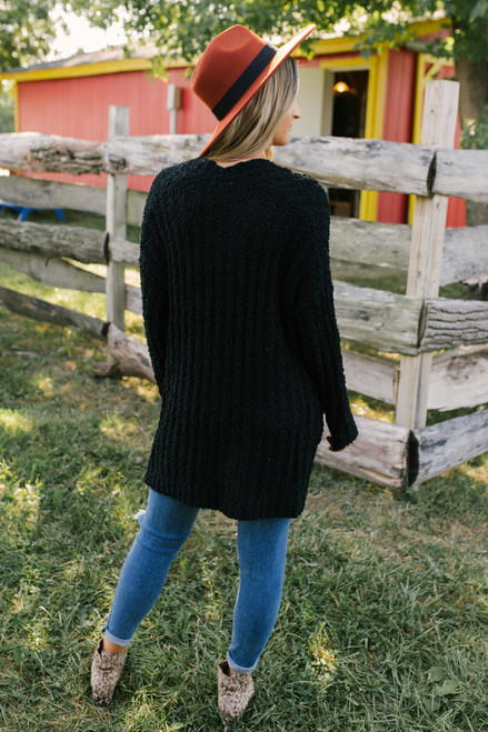 Ribbed Popcorn Pocket Cardigan - Black