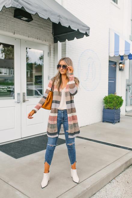 Open Knit Striped Cardigan - Autumn Multi