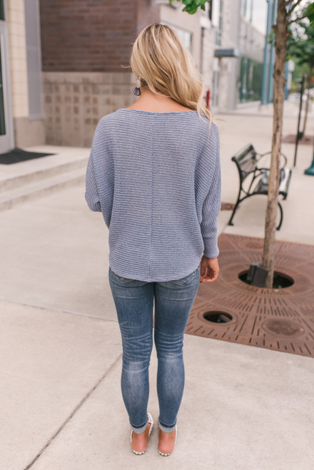 Lightweight Textured Knotted Sweater - Dusty Blue
