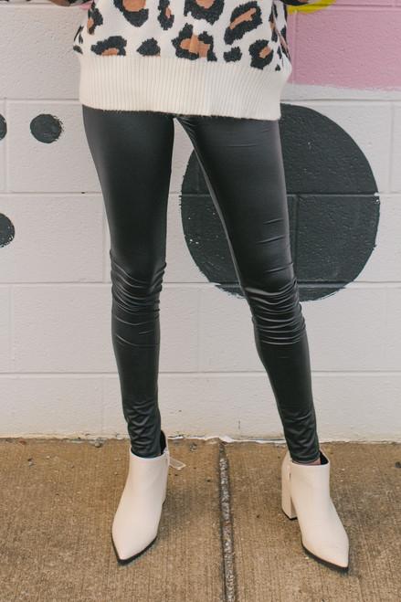 Signature Faux Leather Black Leggings