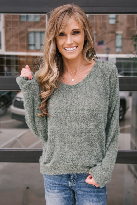 Mountain View High Low Cozy Sweater - Olive