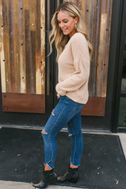 Mountain View High Low Cozy Sweater - Taupe