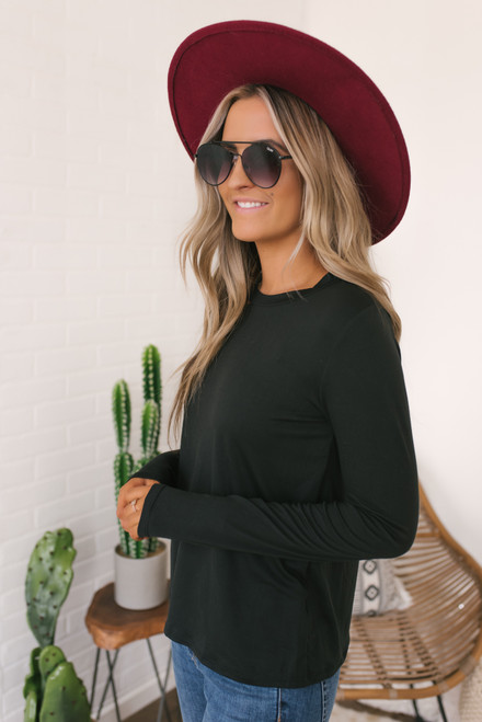 Long Sleeve Cutout Detail Tee - Black