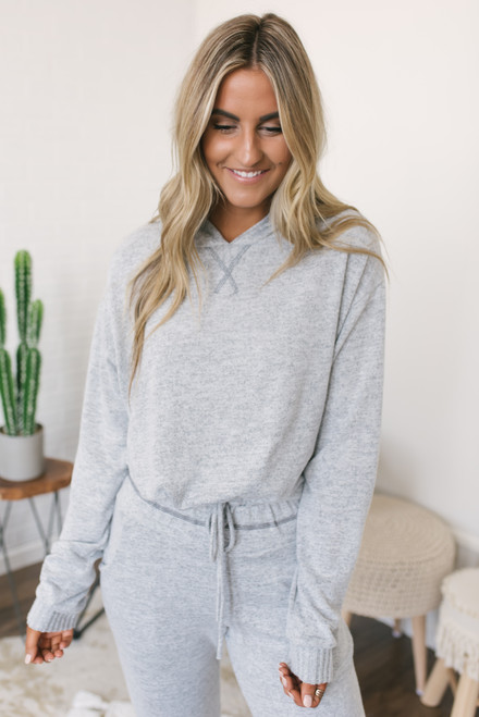 Soft Brushed Cropped Hoodie - Heather Grey - FINAL SALE