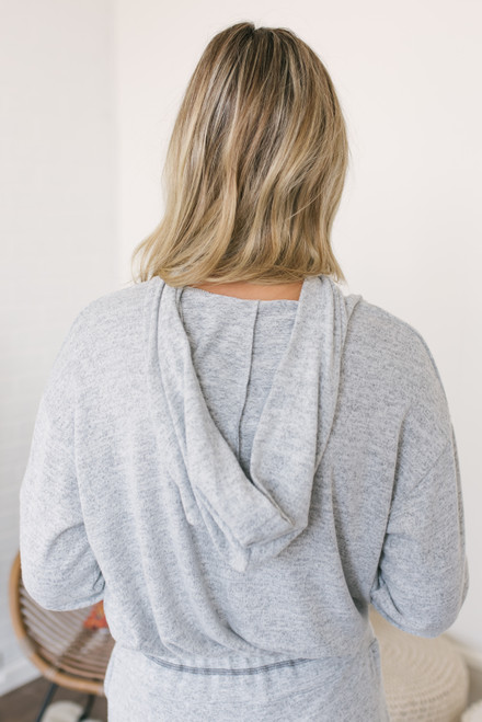 Soft Brushed Cropped Hoodie - Heather Grey