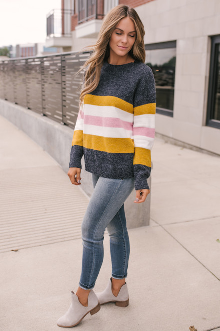 Brixton Market Colorblock Sweater - Navy Multi - FINAL SALE