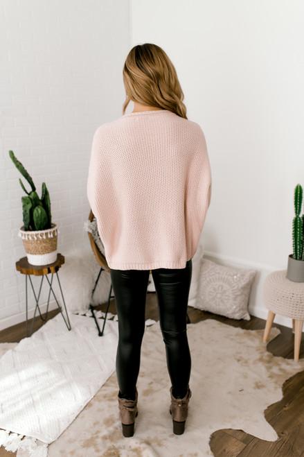 Wide Sleeve Cuffed Sweater - Blush