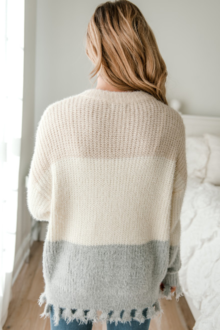 Colorblock Frayed Sweater - Beige/Ivory/Grey