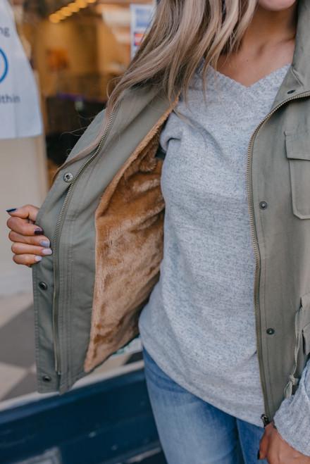 Drawstring Fur Lined Cargo Vest - Olive - FINAL SALE