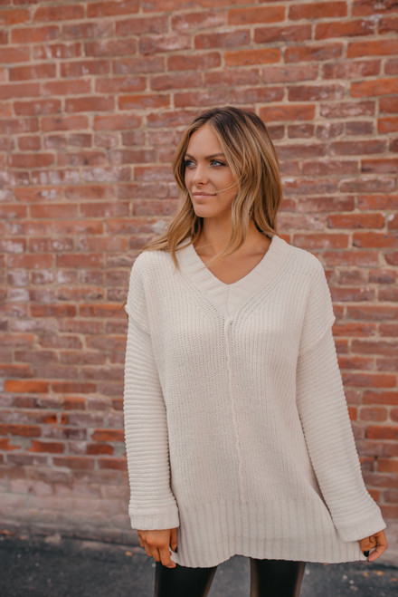 V-Neck Ribbed Sleeve Sweater - Ivory - FINAL SALE