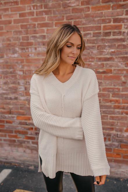 V-Neck Ribbed Sleeve Sweater - Ivory