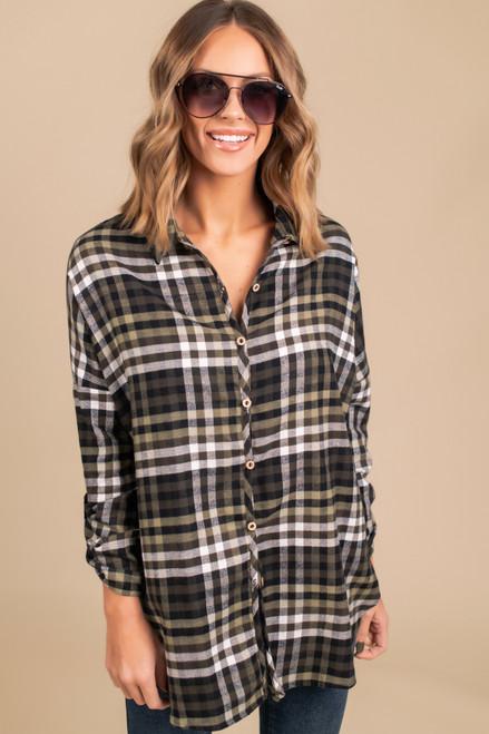 Button Down Roll Tab Plaid Shirt - Olive
