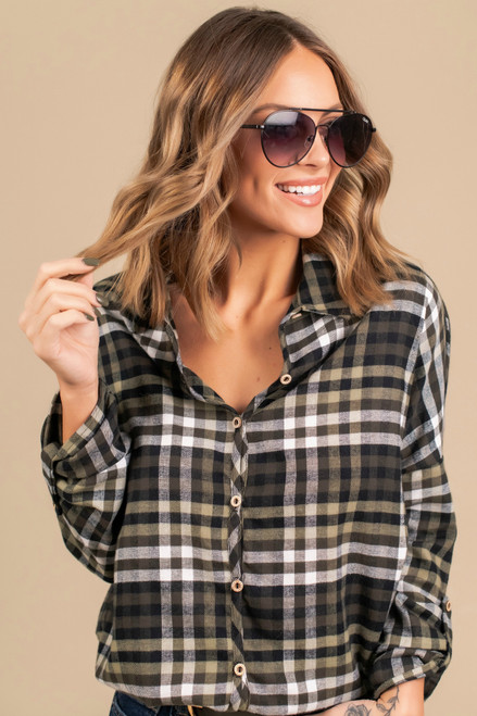 Button Down Roll Tab Plaid Shirt - Olive - FINAL SALE