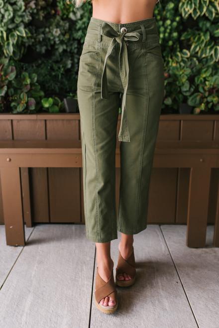 High Waist Tie Waist Pants - Olive
