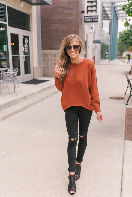 Lace Up Detail High Low Sweater - Rust - FINAL SALE
