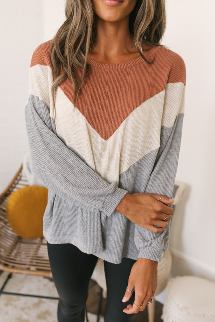 Chevron Colorblock Ribbed Pullover - Terracotta/Ivory/Grey