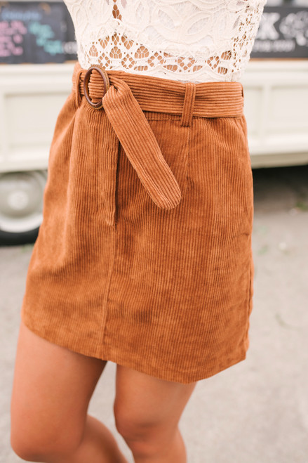 Fall Sunset Belted Corduroy Skirt - Copper  - FINAL SALE