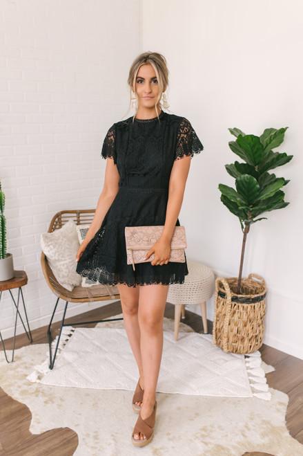 Mock Neck Scalloped Lace Dress - Black - FINAL SALE