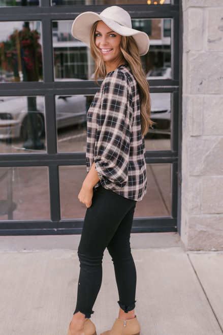 V-Neck Balloon Sleeve Plaid Blouse - Taupe Multi