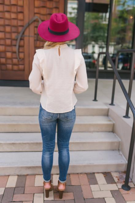 Mock Neck Ruffle Crochet Pintucked Top - Cream  - FINAL SALE