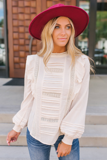 Mock Neck Ruffle Crochet Pintucked Top - Cream