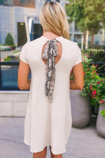 Snakeskin Tie Back Ribbed Dress - Oatmeal Multi