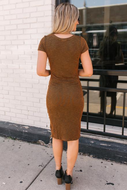 Button Detail Striped Midi Dress - Chestnut/Black