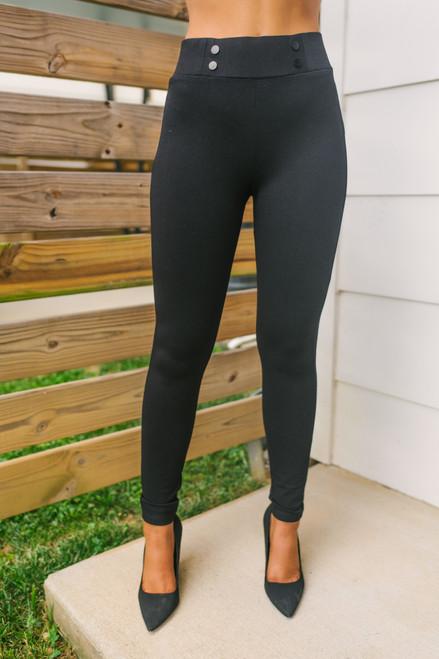 High Waist Button Detail Leggings - Black