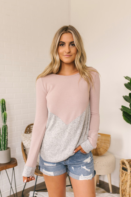 Soft Brushed Chevron Colorblock Pullover - Mauve/Grey - FINAL SALE