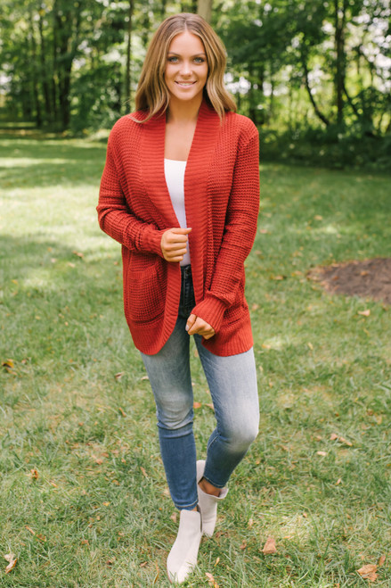 Elbow Patch Pocket Waffle Cardigan - Red Rust
