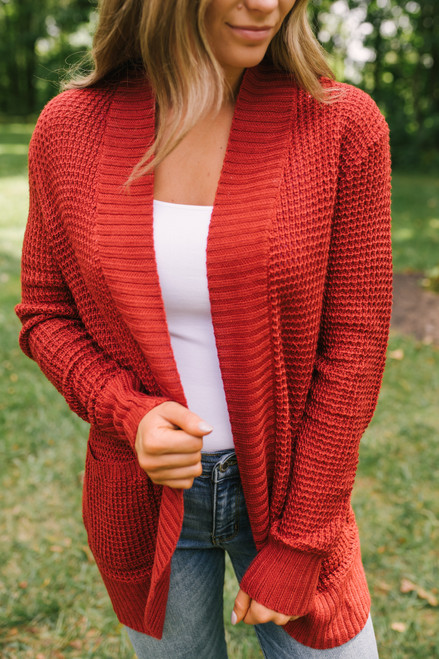 Elbow Patch Pocket Waffle Cardigan - Red Rust  - FINAL SALE