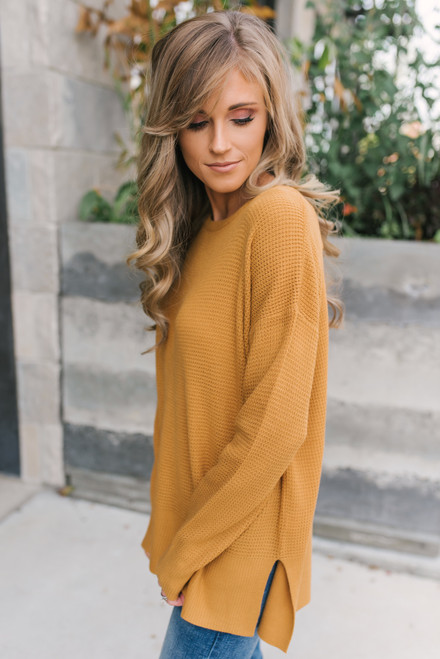 Fall for You Waffle Sweater - Golden Camel - FINAL SALE