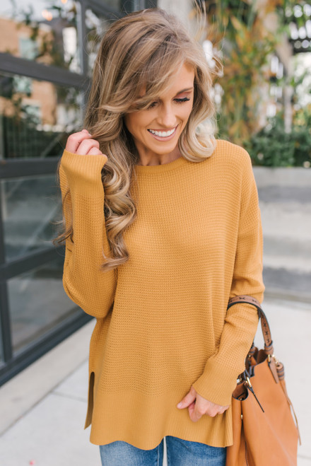 Fall for You Waffle Sweater - Golden Camel