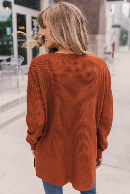 Fall for You Waffle Sweater - Copper - FINAL SALE