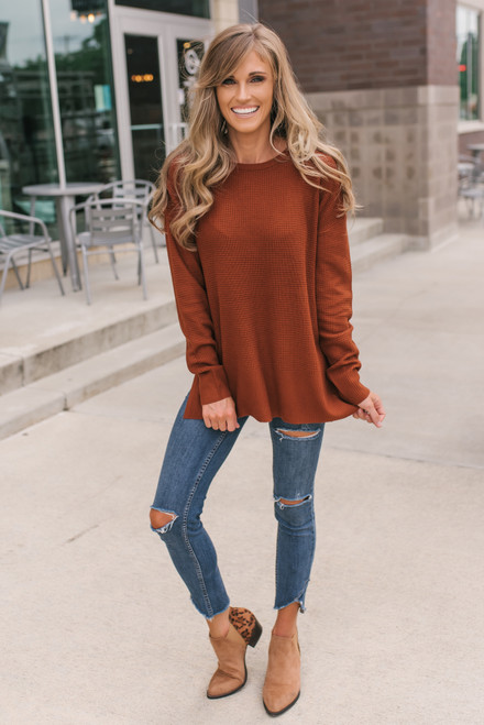 Fall for You Waffle Sweater - Copper