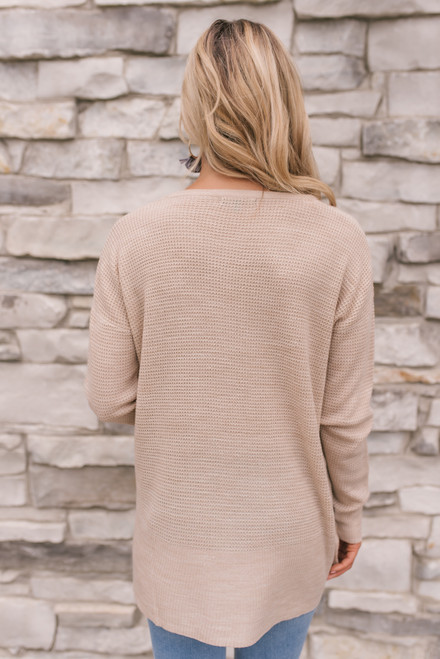 Fall for You Waffle Sweater - Oatmeal