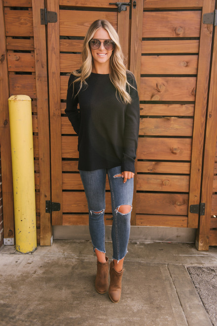 Fall for You Waffle Sweater - Navy - FINAL SALE