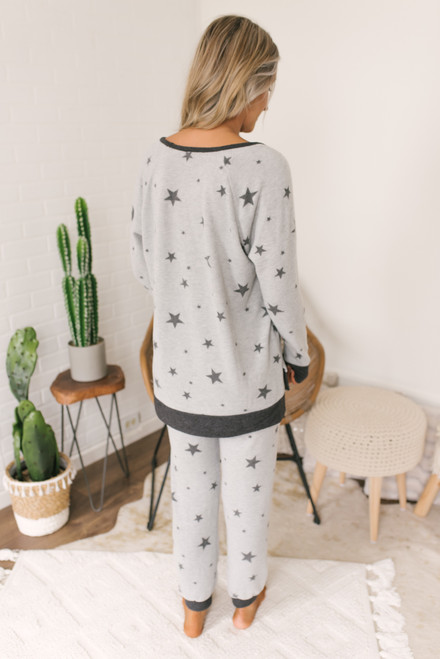 Soft Brushed Star Pullover - Heather Grey/Charcoal