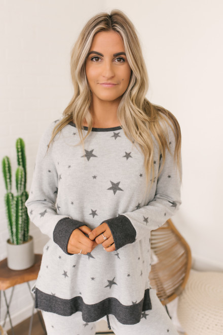 Soft Brushed Star Pullover - Heather Grey/Charcoal  - FINAL SALE