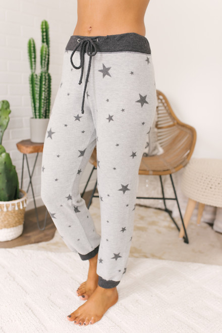 Soft Brushed Star Joggers - Heather Grey/Charcoal  - FINAL SALE