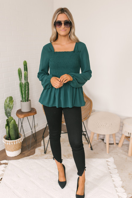 Cross Back Smocked Peplum Top - Hunter Green
