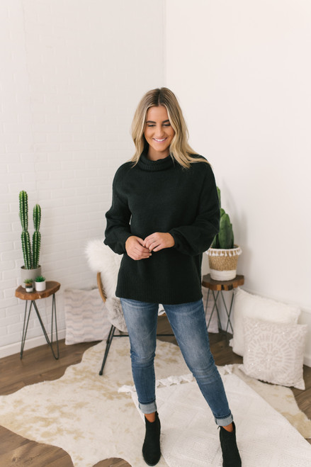Puff Sleeve Turtleneck Sweater - Black