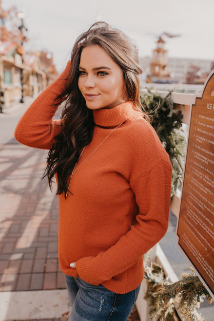 Turtleneck Cozy Sweater - Rust