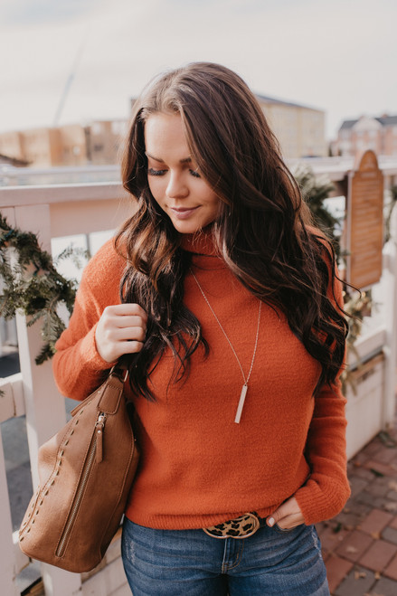 Turtleneck Cozy Sweater - Rust