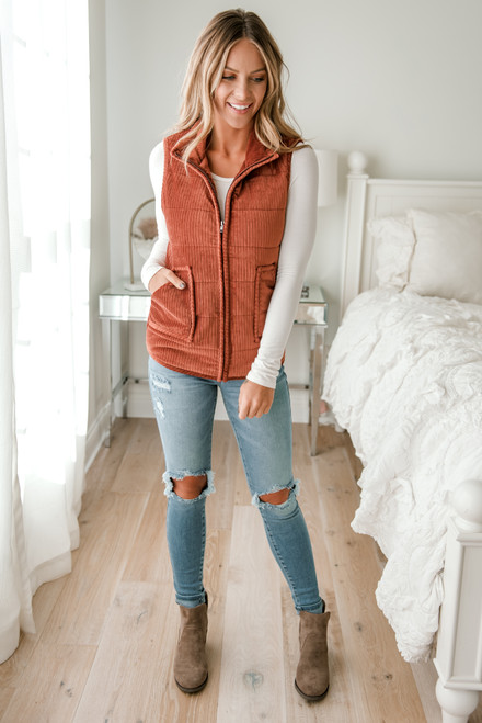 Alpine Lodge Ribbed Plush Vest - Copper