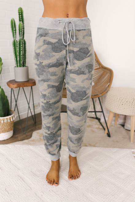 Soft Brushed Camo Joggers - Olive/Grey